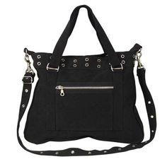 Black Cotton Canvas Vintage Purse; Military Style Handbag