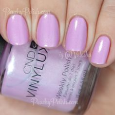 CND VINYLUX Beckoning Begonia - cool-toned pink / pink-toned lilac w/ strong gold and green shimmer | #nail polish / lacquer / vernis from the Summer 2015 Garden Muse Collection | swatch / manicure: Peachy Polish