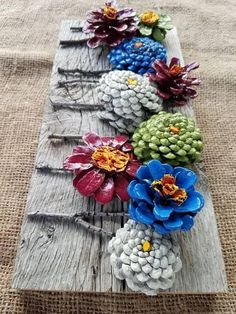 Beautiful handmade and painted pincone flowers on reused barn wood! These pi… - wood DIY ideas - Mit tannenzapfen basteln - Beautiful handmade and painted pincone flowers on reused barn wood! This pi …, - Kids Crafts, Crafts To Make, Craft Projects, Arts And Crafts, Craft Ideas, Pine Cone Art, Pine Cone Crafts, Pine Cones, Pine Cone Wreath