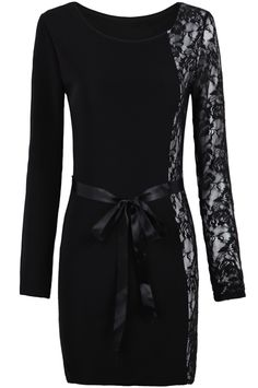 Black Long Sleeve Contrast Lace Belt Dress