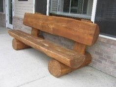 Log Benches & Picnic Table I have a big ash tree my son planted in kindergarten we are going to have to cut down. What a great idea of what to do with the logs. Log Furniture, Garden Furniture, Western Furniture, Furniture Design, Furniture Depot, Furniture Movers, Outdoor Furniture, Rustic Outdoor, Outdoor Decor