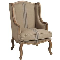 French Country Chic Style Cream Taupe Fabric Wing Back Armchair Cabriole Legs