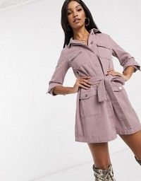 Buy Missguided Petite belted denim jacket dress in raspberry at ASOS. With free delivery and return options (Ts&Cs apply), online shopping has never been so easy. Get the latest trends with ASOS now. Denim Jacket With Dress, Jacket Dress, Shirt Dress, Pink Fashion, Missguided, Asos, Latest Trends, Celebs, Glamour