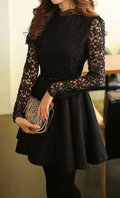Black Lace Bodice Dress