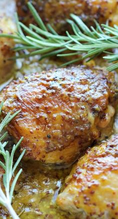 Baked Honey Mustard Chicken Recipe ~ The creamiest honey mustard chicken ever! It's so good, you'll want to eat the honey mustard itself with a spoon!