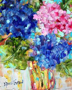 Original oil painting Hydrangea flowers palette knife impressionism on canvas fine art by Karen Tarlton