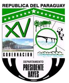 COA of Presidente Hayes is a department in Paraguay. The capital is the city of Villa Hayes. The department was named after U.S. President Rutherford B. Hayes, who awarded the territory to Paraguay as the arbitrator in a boundary dispute between Paraguay and Argentina after the Paraguayan War.