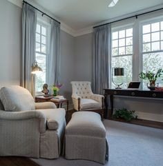 Can You Use Gray Paint in a North Facing Room? - laurel home | soft grays in this pretty living room by Edward Postiff