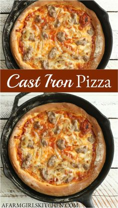 Cast Iron Skillet Cooking, Iron Skillet Recipes, Cast Iron Recipes, Cast Iron Pizza Recipe, Pizza Bake, Pizza Pizza, Good Food, Yummy Food, Tasty
