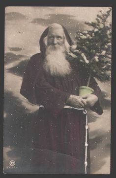 Santa Claus St Nicholas x mas Tree Vintage Photo Tinted | eBay