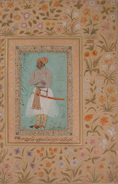 Portrait of Maharaja Bhim Kunwar: Leaf from the Shah Jahan Album, Mughal, period of Jahangir (1605–27), ca. 1615 By Nanha India Ink, opaque watercolor, and gold on paper. Maharaja Bhim Kunwar wears a diaphanous jama tied to the left, an ornately decorated patka, or sash, and a sword hanging from his waist. He is set against a cyan background, typical of portraiture of the early seventeenth century. Bhim Kunwar, son of the Rajput ruler of Mewar, Rana Amar Singh, was given the title of…