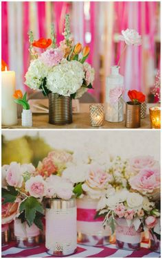 Tin Can Wedding Ideas ... super cute - maybe with gold spray paint, burlap or ribbon