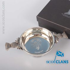 Thompson Clan Crest Quaich. Free worldwide shipping available