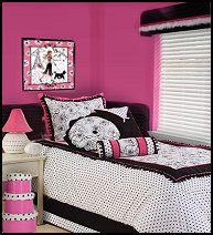 Playful with a bit of retro flair, the Abigale Comforter Set makes a bold statement in your child's room. With an interplay of polka dots and a floral-inspired patterns, highlighted with pink accents, this ensemble is finished with some fringe detailing. Features Black prints on white background with pink piping and accents parisian theme bedroom. Paris style bedroom paris french bistro black and pink teens bedrooms. Paris theme bedroom decorating ideas.