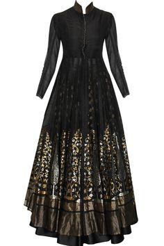 Black sheer organza jacket with handwoven barfi lehenga available only at Pernia's Pop-Up Shop.