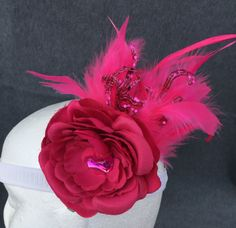 Rose pink jewel feather glitter floral hair accessory by fayeven