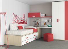 Kids Touch 19 Habitación juvenil Juvenil Camas Compactas y Nidos: Cama compacta con cajones, cama, escritorio, estanterías y armario.