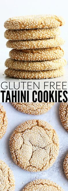 These gluten free Tahini Cookies are such a fun surprise! They are so soft and chewy and insanely delicious!! They're my new favorite cookie! thetoastedpinenut.com #glutenfree #tahini #cookie #dessert