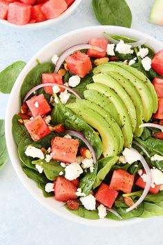 Watermelon Avocado Spinach Salad is the best summer salad!