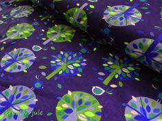 Stoff Blumen - Jersey-Blattwerk- Bäume- Blaubeerstern-blau - ein Designerstück von kreativ-jule-Material bei DaWanda