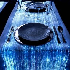 Optical fiber table runner that looks like flowing water.