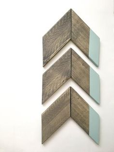 Wood Chevron Arrow Set in Sea Sprite