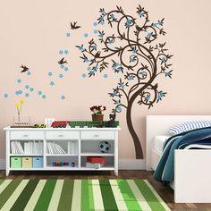 Stylish Curved Tree With Birds Wall Sticker
