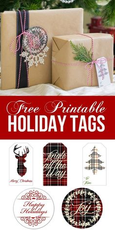 Christmas Presents with Free Printable Plaid Christmas Tags. Print these on glitter paper to make them sparkle!