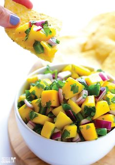5-Ingredient Mango Salsa -- This recipe is easy to make and makes the perfect summer appetizer!