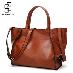 Cheap brand tote bag, Buy Quality designer tote bag directly from China tote bag Suppliers: SEVEN SKIN Brand Fashion Women Solid Leather Bags Female Shoulder Bags Women Handbag Large Capacity Tote Bag 2017 New Designer