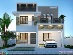 Top 7 Kerala Houses Design by Dream Homes – Amazing Architecture Magazine Top 7 Kerala House Indian House Exterior Design, Modern Exterior House Designs, Small House Exteriors, Modern House Facades, Kerala House Design, Indian Home Design, 3d Home Design, Modern Small House Design, Contemporary House Plans