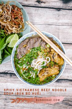 Bún bò Huế is a spicy Vietnamese noodle soup that's not as popular as phở, but don't sleep on it. This spicy lemongrass flavored bone broth will rock your world.