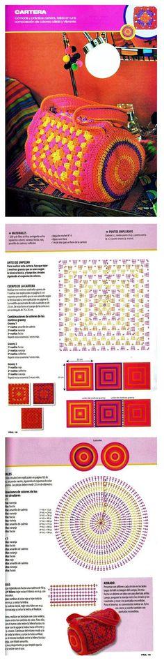 Barrel bag with granny squares - crochet pattern bag crochet pattern