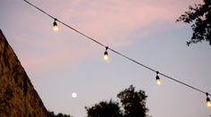 Strings of White Lights at Outdoor Winery Wedding Event Planner: http://www.amynichols.com Photo: http://www.byleah.com
