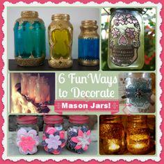 6 Fun Ways to Decorate Mason Jars - Decorate Pretty Mason Jars Mason Jar Vases, Mason Jar Wine, Mason Jar Gifts, Painted Mason Jars, Bottles And Jars, Love Jar, Mason Jar Projects, Jar Art, Crafts For Seniors