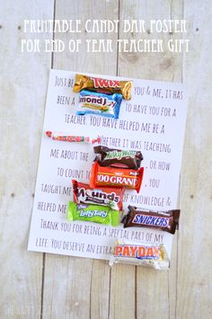 Printable Candy Bar Poster Teacher Gift - The Happy Scraps