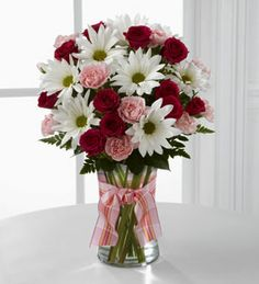 Sweet Surprises Bouquet-Our Sweet Surprises Bouquet is an absolutely charming way to send your warmest sentiments. Deep fuchsia spray roses, pink mini carnations, white traditional daisies and lush greens are sweetly situated in a classic clear glass Send Flowers Online, Order Flowers, Mini Carnations, Mothers Day Flowers, Valentine Flowers, Valentines, Same Day Flower Delivery, Flowers Delivered, Spray Roses