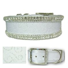 Large dog snow white crystal jeweled dog collar decorated with glittery swirls print and like diamonds clear crystal.