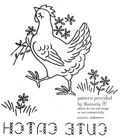 Chicken Romance embroidery transfers || Vintage Transfer Finds