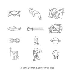 Selected Pictish symbols from different stones, published in Last of the Druids by Jane Dorman and Ian Forbes