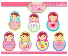 Matryoshka clip art ,Matryoshka dolls Digital clip art, Russian dolls clip art ,PEG & PNG,instant download