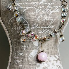 OOAK Necklace short and romantic with faceted glass by BijuteriaPT, $30.00