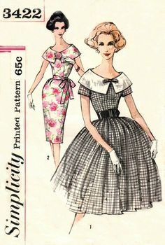 Simplicity 3422 Blazing Puritan Collar Dress & Two Skirts / ca. 1960