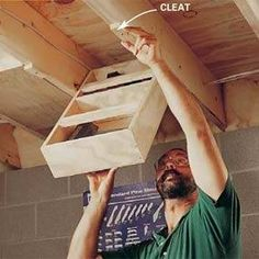 Ceiling storage shelves. Perfect for a tiny house!