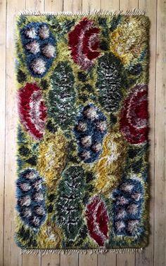 Vintage mid century Josef Frank ryamatta for Svenskt Tenn of Sweden circa Rya Rug, Josef Frank, Rug Inspiration, Cool Rugs, Rug Hooking, Bohemian Rug, Weaving, Mid Century, Tapestry