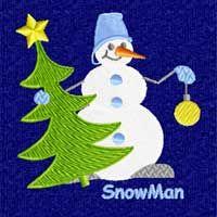 Winter Motifs: Snowman Machine Embroidery Design