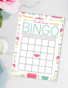 BINGO! Listing is for Bridal Shower Bingo in our Stock The Kitchen shower theme. In order to play give guests a card and have them fill out gifts they think the bride might receive. As the bride opens them, they check off their cards, first to get Bingo wins! No Waiting! With our instant