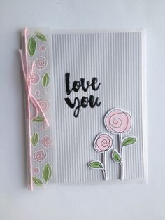 handmade card ... Roses for You ... soft pink flowers ... luv the  velum column with stamped and colored little flowers ...