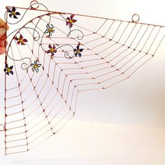 Handmade SpiderLess Copper Spider Web With by SpiderwoodHollow, $65.00