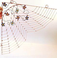 Flower Garden Spider Web Wire Art Perfect for by SpiderwoodHollow